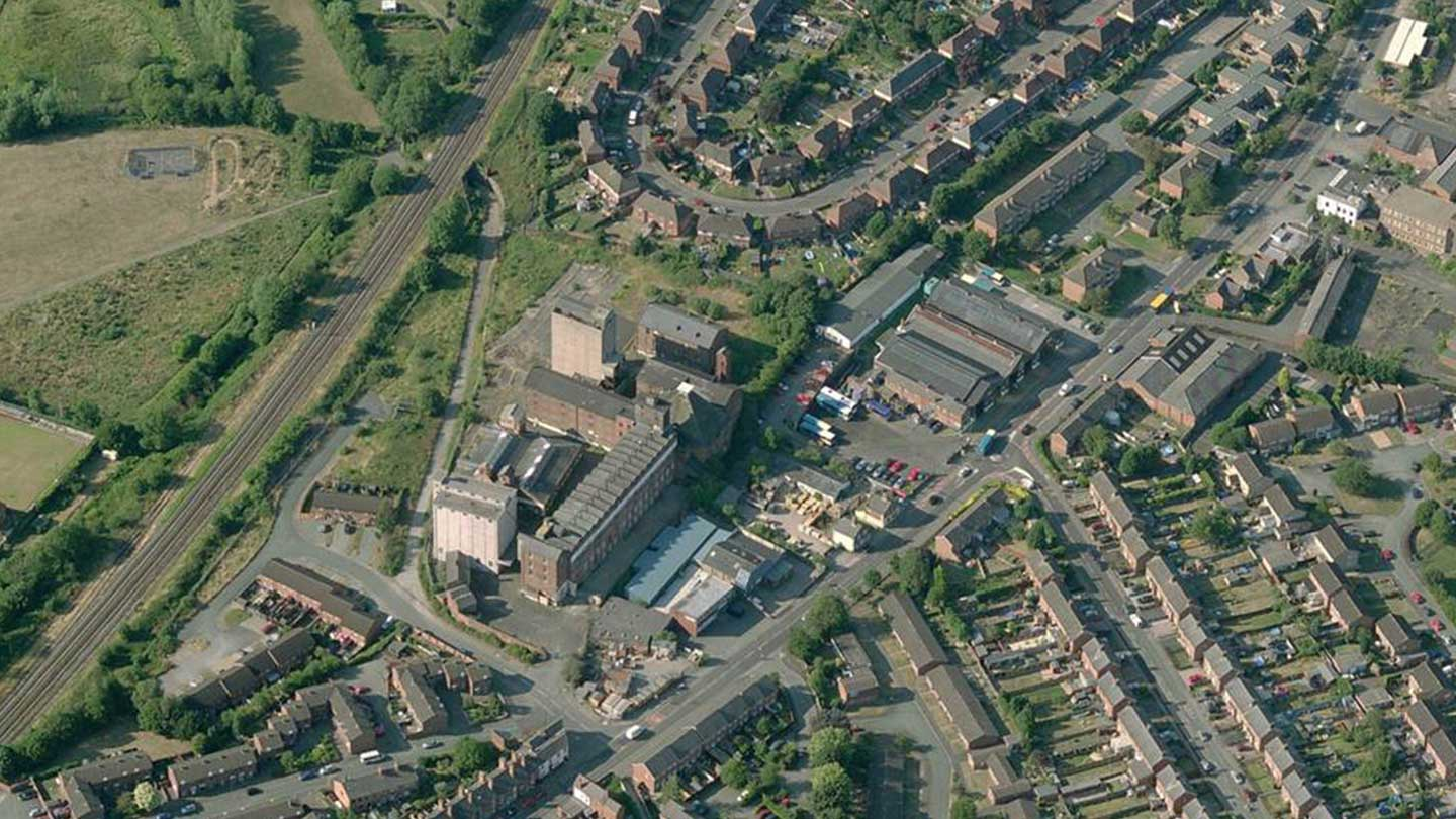 Aerial photograph of Flax Mill site