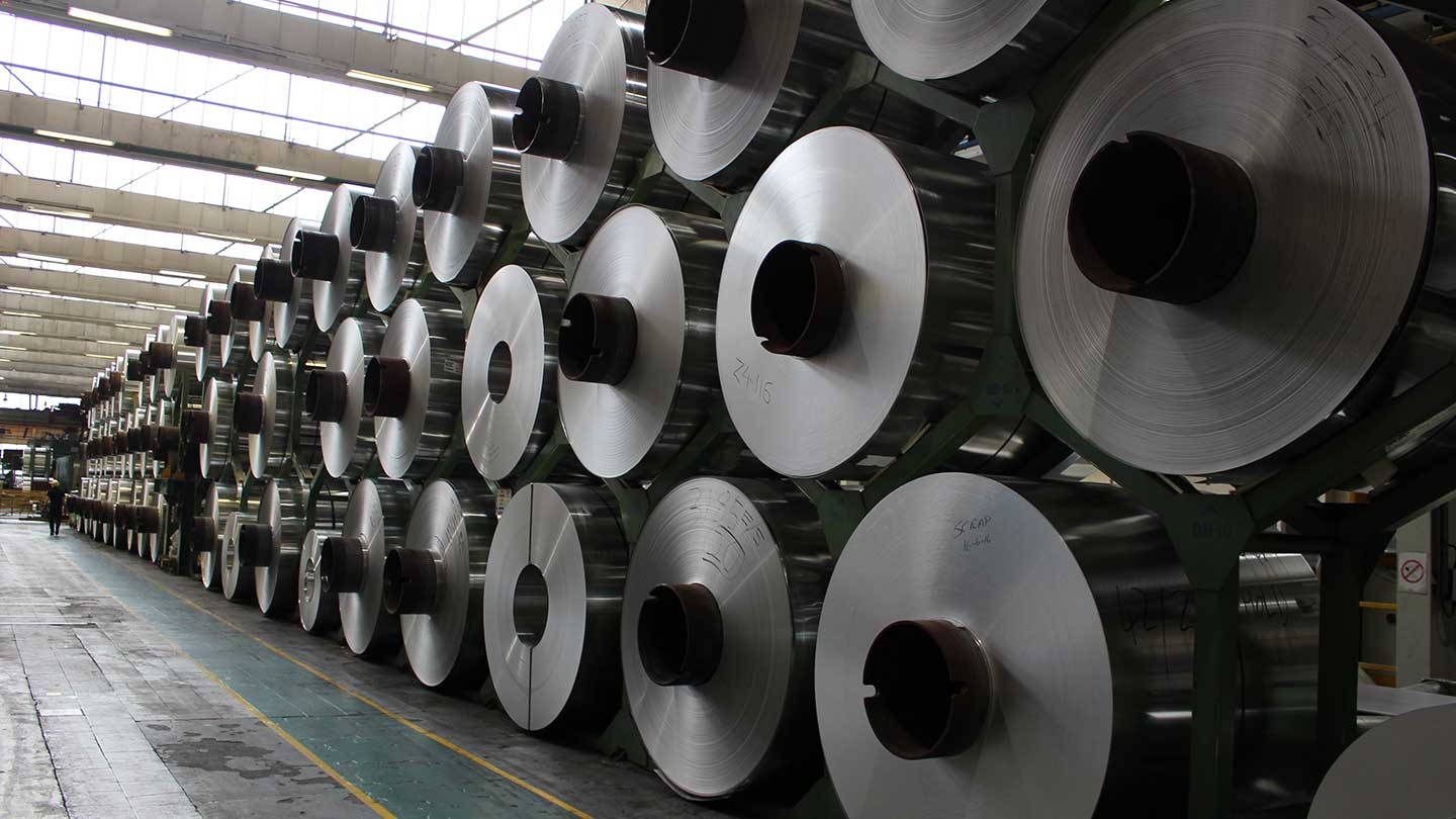 Reels of aluminium in processing plant