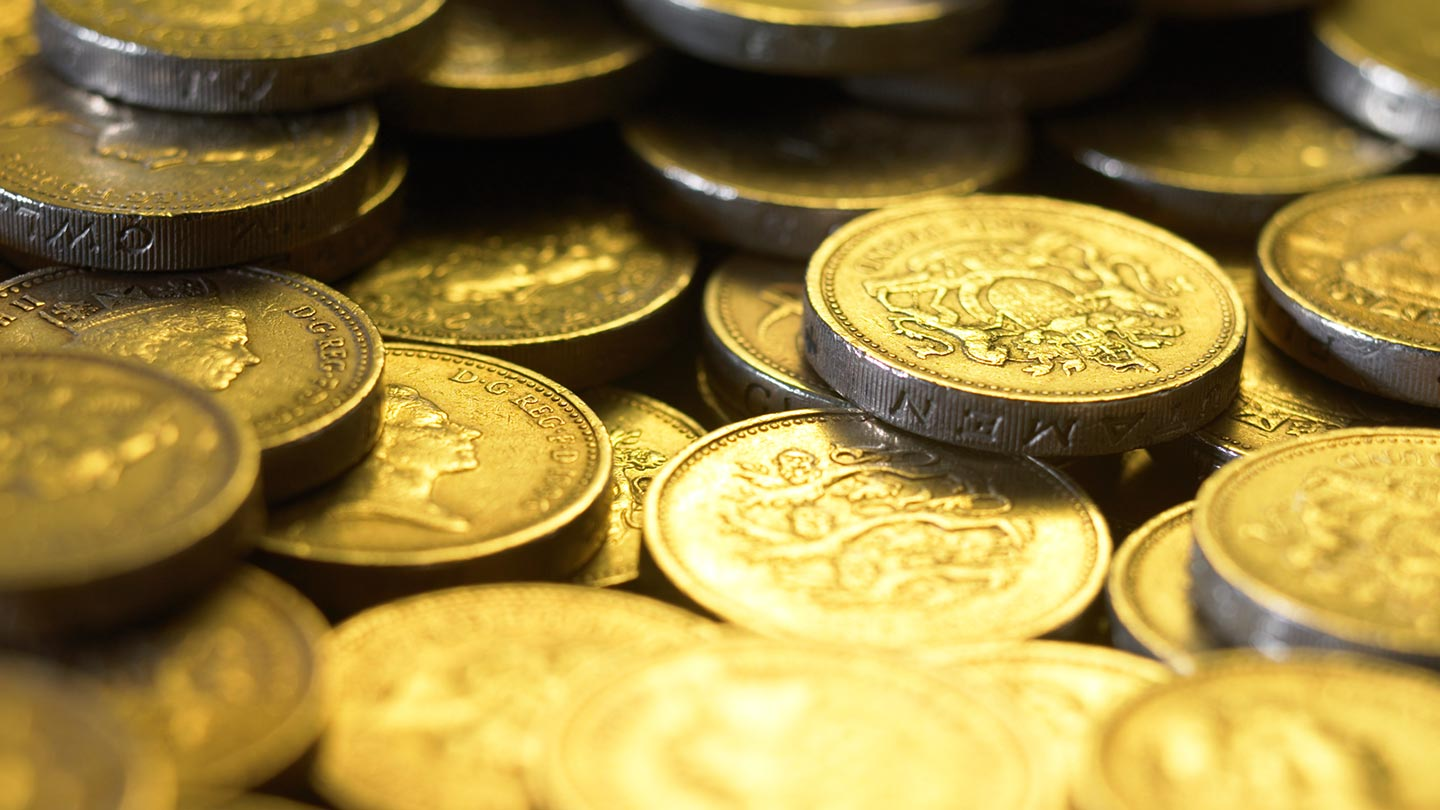 close up of pound coins