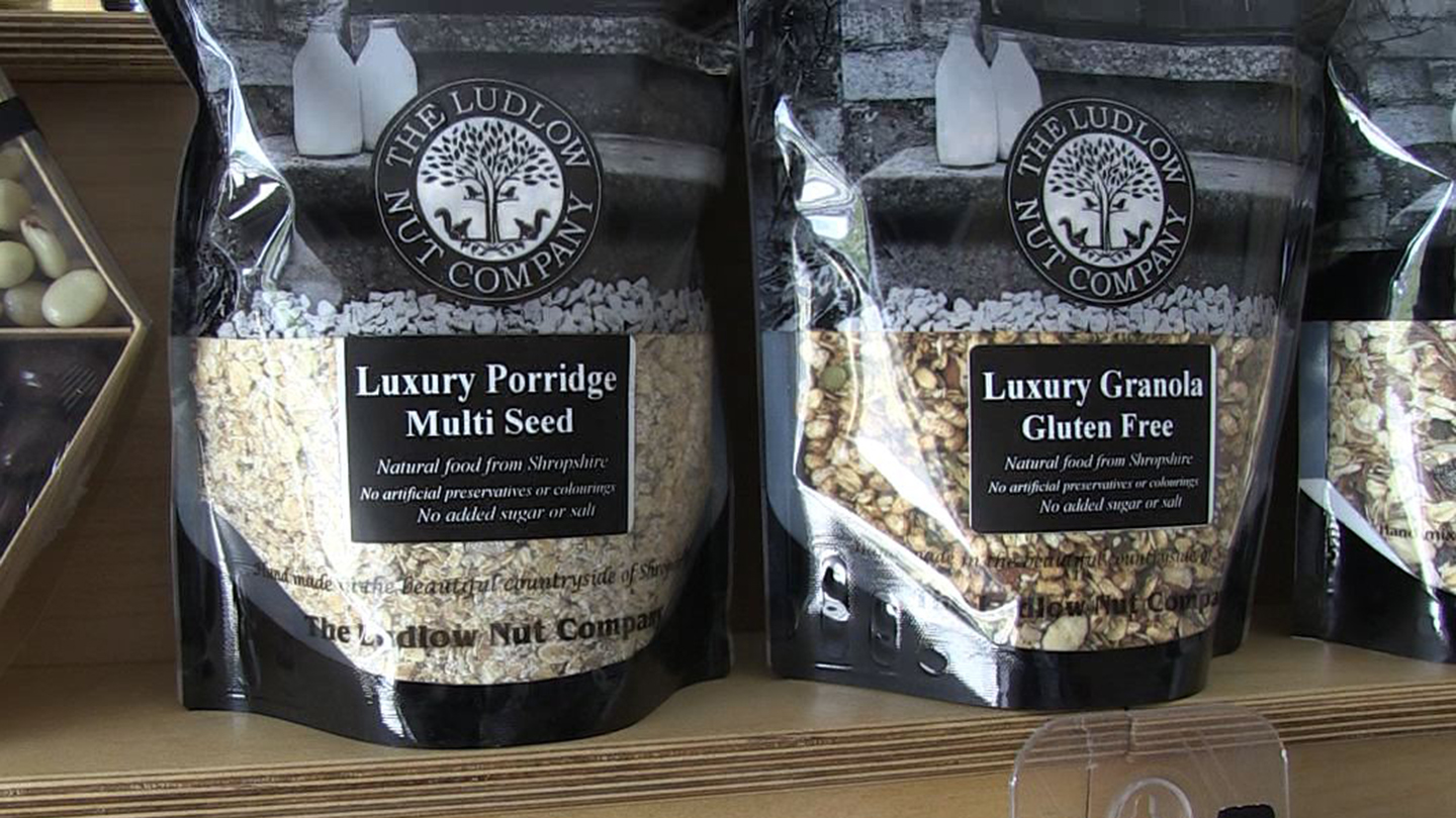 Photos of bags of luxury muesli from the Ludlow Nut Company