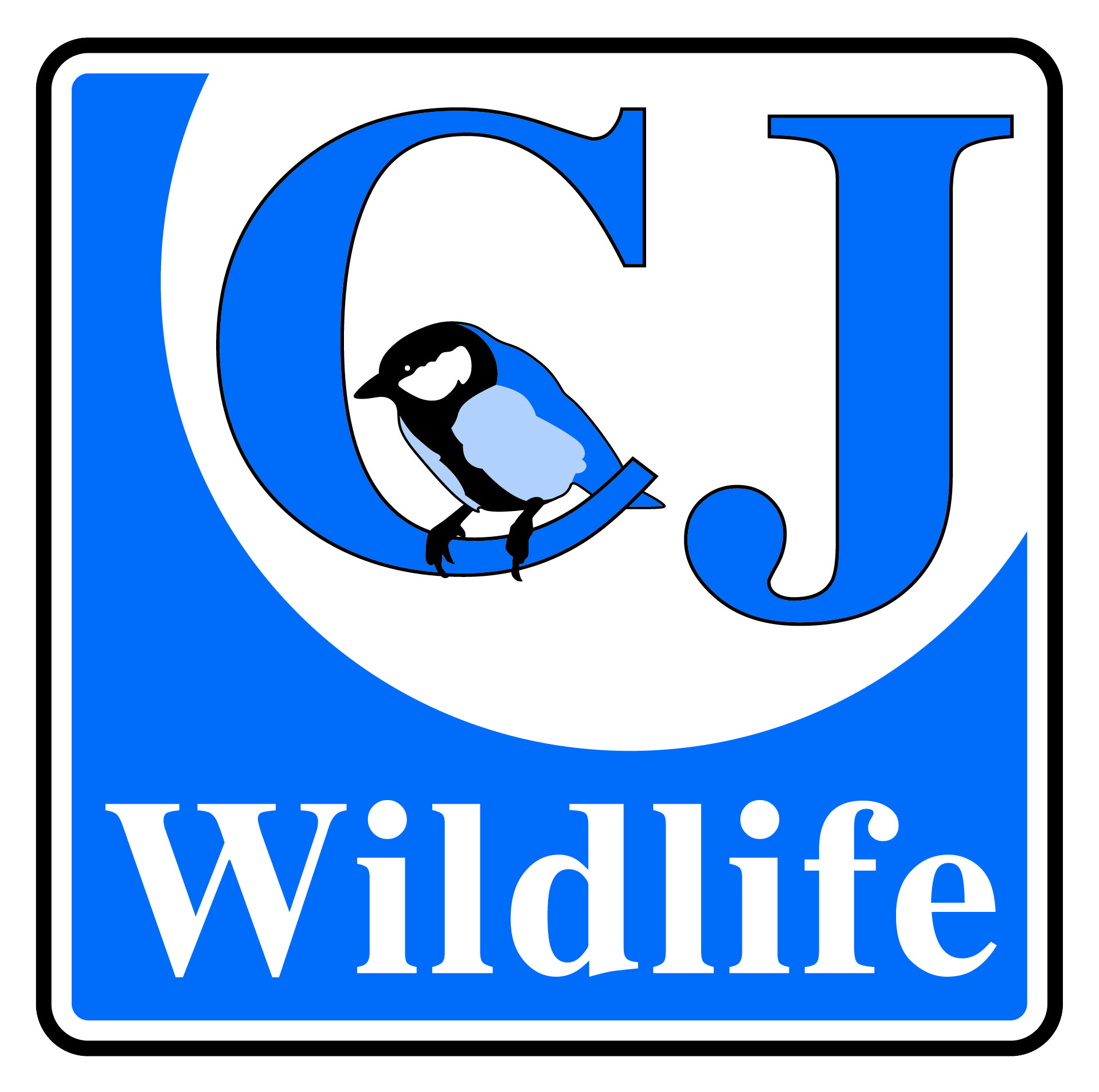 Blue logo for CJ Wildlife Featuring blue tit