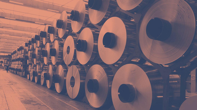 Reels of aluminium in processing plant